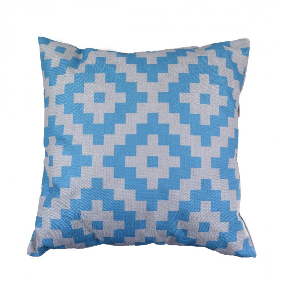 Blue Diamond Block Cushion