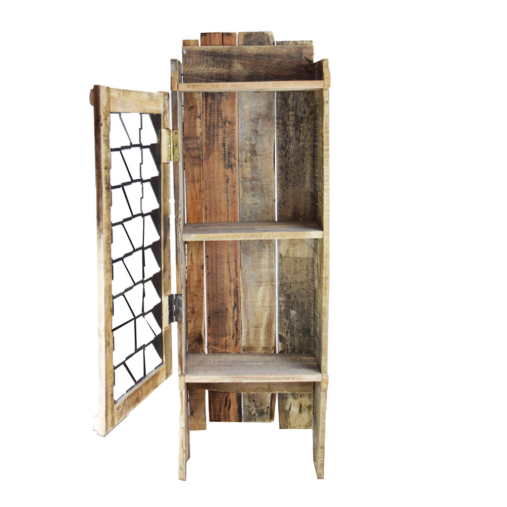 Unique Wooden Wall Cabinet With Wrought Iron Door