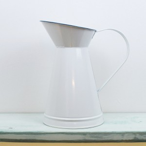 Metal Jug White Blue
