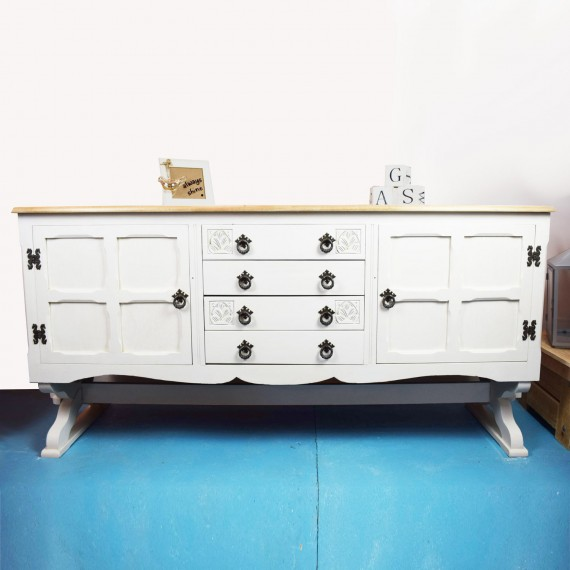 Hand Painted White Wood Top Sideboard