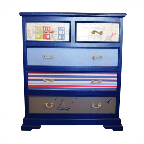 Large Five Drawer Chest - Stunning Coastal Theme